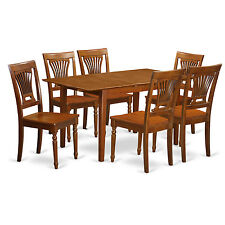 7 PC Kitchen Dinette Set- Table with Leaf and 6 chairs for dining room