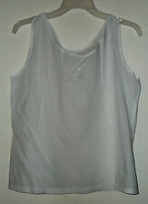 NEW  EMBROIDERED TANK COTTON  accented w floral embroideries size S, M or L/XL