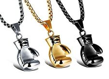 Wholesale- Men Jewelry 316L Stainless Steel Solid Boxing Gloves Pendant Necklace
