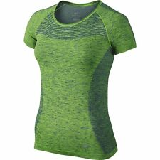 NIKE WOMEN'S DRI-FIT KNIT RUNNING CREW-NECK  TOP SHIRT GREEN/BLUE#718569-NWT
