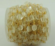 AAA 5 Feet Crystal Quartz smooth Coin Rosary Beaded Chain 24k Gold Plated Chain