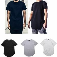 Fashion Hipster Men's Hip-hop Extended Long T-shirt Casual Plain Streetwear Tops