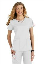 Dickies Medical EDS Signature Scrubs White Peek-A-Boo Top Size XS-XXL NWT