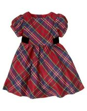 Gymboree $52 Christmas Holiday Celebrations Red Plaid Fancy Silk Blend Dress NWT