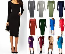 Women Long Sleeve Midi Dress Plain & Print Jersey Stretch Bodycon Plus Size 8-26
