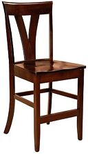 """Set (3) Amish Levine 24"""" Stationary Counter Height Bar Stools Solid Wood"""