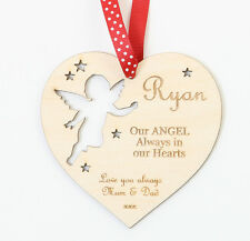 Memorial Heart Personalised Memory Angel Christmas Remembrance Tree Decoration