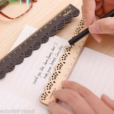Wooden Solid Color Hollow Lace Ruler Stationary Student School Supplies Gift