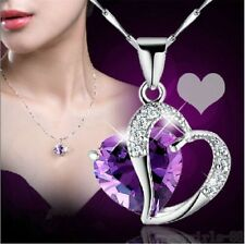 Fashion Women Heart Crystal Rhinestone Silver Chain Pendant Necklace Jewelry TS