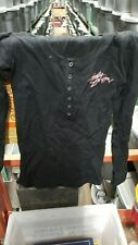 NOS Harley Davidson Womens Pink Label Henley Long Sleeve Black Shirt 99189-11VW