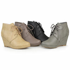 Brinley Co. Womens Lace-up Faux Leather Round Toe Lace-up Wedge Booties