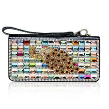 Crystal Peacock Real Leather Ladies Clutch Long Wallet Evening Bag Purse Handbag