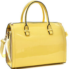 Dasein Patent  Leather Handbag Barrel Bucket Shoulder Bag Satchel Bag with Strap