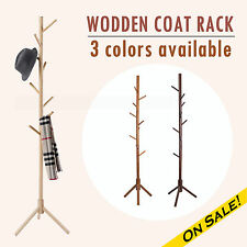 New Wood Tree Style Hat Bag Coat 9 Hooks Wooden Made Rack Coat Stand Coat Rack