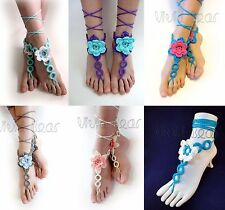 Crochet Ring Flower Barefoot Beach Sandals Anklet Wedding Yoga Shoe Foot Jewelry