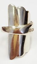Solid sterling silver hallmarked vintage 1934 baby pusher spoon ring SIZE S T U