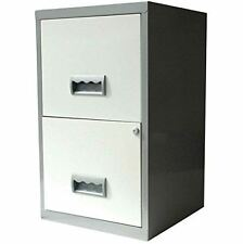 White Silver 2 Drawer A4 Filing Cabinet 660H x 400W x 400D mm NEXT DAY DELIVERY