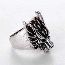 Cheap Wholesale Fashion Jewelry Stainless Steel Mens Silver wolf Rings Hot