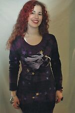 witch broomstick print t shirt dress  tie dye scoop neck long sleeve halloween