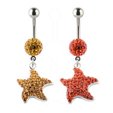 14G Swarovski Elements Crystal SeaStar Charm Dangle Navel Belly Button Ring