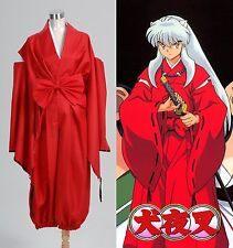 Inuyasha inu-yasha Red Kimono Dress Cosplay Costume Halloween Party