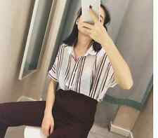 Fashion style  lovely Take vertical striped short-sleeved shirt blouse U7112