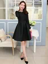 New Womens Long Sleeve Black Dress Jacquard Slim Fit Casual Party Pleated Dress