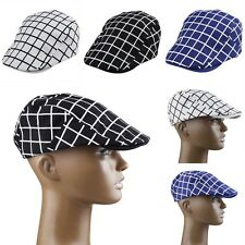 Men Plaid Checks Cotton Blend Duckbill Newsboy Cabbie Driving Gatsby Ivy Cap Hat