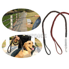 Large Pet Dog Chain Lead Leash Collar Woven Fuax Leather Rope Traction Dog