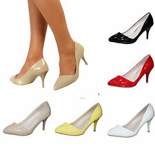 Ladies High Mid Stiletto Heel Pointed Patent Court Pumps Work Shoes Size UK 3-8