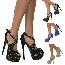 Womens High Heel Strappy Peep Toe Cut Out Stud Stiletto Shoes Sandals Size