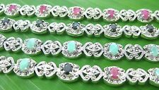 100% REAL sterling silver REAL STONE Ruby Sapphire Emerald & Marcasite BRACELET
