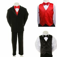 New Boy Kid Child Formal Wedding Party Black Suit Tuxedo + Red Vest Bow Tie 5-7