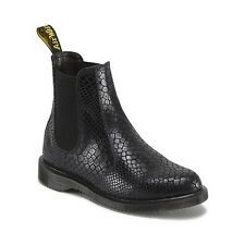 Womens DR MARTENS FLORA Chelsea Hi Shine SNAKE Suede Leather BOOTS doc MANY SIZE