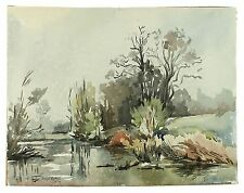 Elvetham Lake Signed Unframed Retro Landscape Watercolour Painting M Harrison