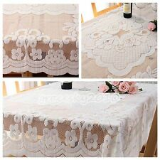 Vintag Luxury Lace White Square Tablecloth IN HAND Rose Cover Dining Home Table