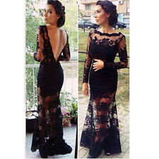 Hot Women  Celeb Lace Crochet Backless Party Evening Cocktail Long Prom Dress