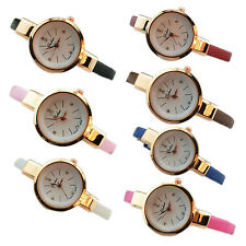 Women Ladies Thin Faux Leather Strap Wrist Watch  ED
