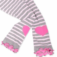 Naartjie Girls Stripes with Heart Legging with Ruffle Bottom, Heather Gray NWT