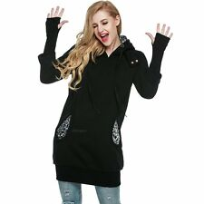 Long Women Hoodie Front Casual Pockets Sport Winter  Prints Sweatshirts Leopard