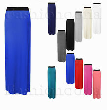 NEW WOMENS LADIES JERSEY LONG MAXI SKIRT GYPSY STRETCHY DRESS 8-26