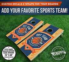 Cornhole Vinyl Decals, Bag Toss Board Wraps, ANY BASKETBALL TEAM - PAIR