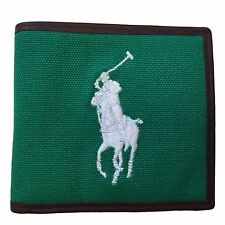 Polo Ralph Lauren Canvas Leather Bifold Wallet Big Pony Logo New Green Blue