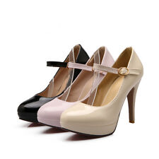 New Synthetic Patent Leather Pumps Mary Jane High Heel Lady Shoes US Size s137