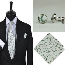 Formal Tailor Mens Wedding Formal Green Scroll Tie Hankie Cufflink Set