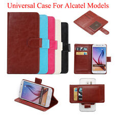 2016 Universal PU Leather Flip Stand Case Cover Suction Cups For Alcatel  Models
