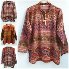 Hippie Boho Elephant Long Sleeve Womans Shirt Top Blouse So Comfy Casual Fabric