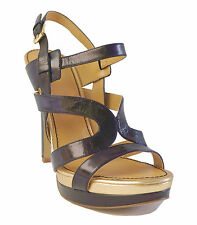 New! Nine West $89 Black Leather Platform Sandals BREEZIN Women's Sz 9.5