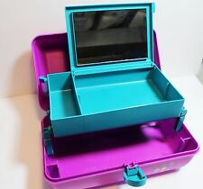 Caboodles Pink & Teal Make Up Organizer Mirror Cosmetic Train Case Vintage 2622