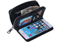 Black Wallet Purse with Magnetic Phone Case PU Leather for iPhone 5 5S 6 6Plus